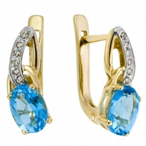 Золотые серьги c топазами и бриллиантами