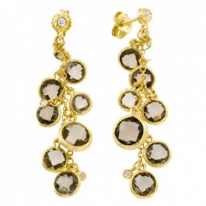 Серьги из желтого золота c бриллиантами и раух- топазами