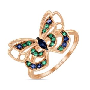 Золотое кольцо «Бабочка» c сапфирами и изумрудами