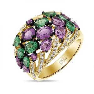 Кольцо из желтого золота c аметистами, бриллиантами и гранатами