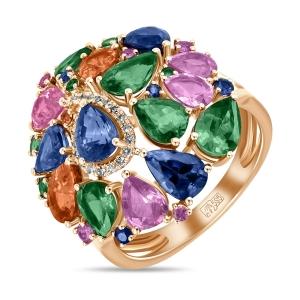 Золотое кольцо c бриллиантами, гранатами и сапфирами