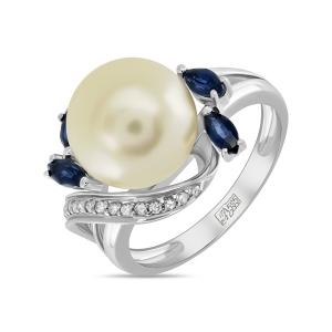 Золотое кольцо c бриллиантами, кремовым жемчугом и сапфирами
