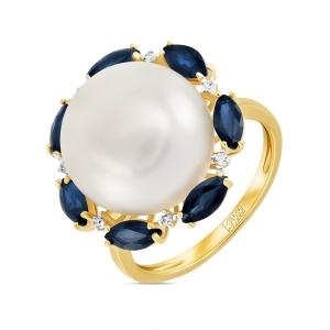 Золотое кольцо c бриллиантами, белым жемчугом и сапфирами