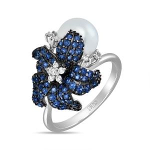 Кольцо с цветком из белого золота c бриллиантами, жемчугом и сапфирами
