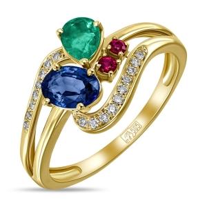 Золотое кольцо c бриллиантами, изумрудом, рубинами и сапфиром