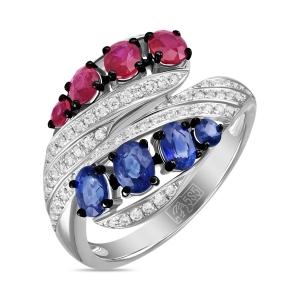 Кольцо из белого золота c бриллиантами, рубинами и сапфирами