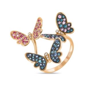 Золотое кольцо Бабочки c бриллиантами, рубинами и сапфирами