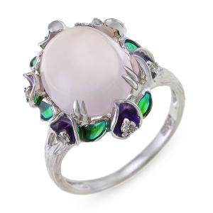 Золотое кольцо c бриллиантами, эмалью и кварцем