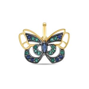 Золотая подвеска «Бабочка» c сапфирами и изумрудами