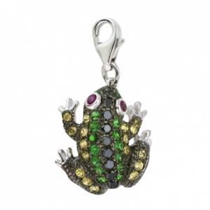 Подвеска «Лягушка» из белого золота c бриллиантами, гранатами, рубинами и сапфирами