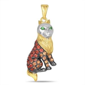 Подвеска «Кот» из желтого золота c гранатами и сапфирами