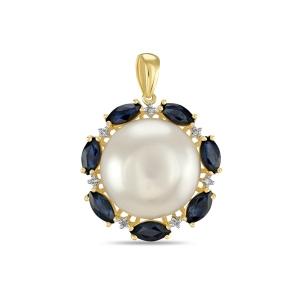 Золотая подвеска c бриллиантами, белым жемчугом и сапфирами