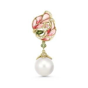 Золотая подвеска c топазом, бриллиантами, эмалью, жемчугом и турмалинами
