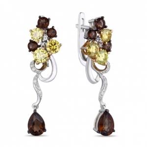 Серьги из белого золота c желтыми бриллиантами, кварцем и топазами Брызги шампанского