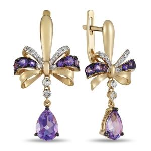 Золотые серьги Бантики c аметистами, бриллиантами и топазами