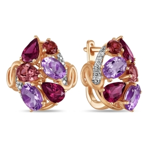 Золотые серьги c аметистами, бриллиантами, родолитами и турмалинами