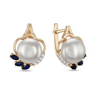 Золотые серьги c бриллиантами, белым жемчугом и сапфирами