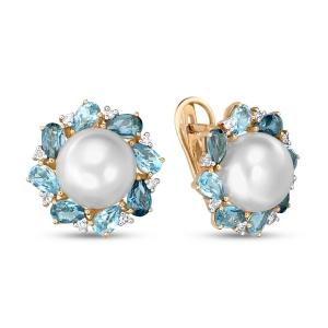 Серьги Цветы из белого золота c топазами, бриллиантами и белым жемчугом