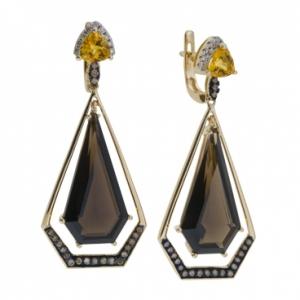 Серьги из желтого золота c цитринами, бриллиантами и кварцем