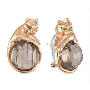 Золотые серьги c бриллиантами, гранатами и кварцем