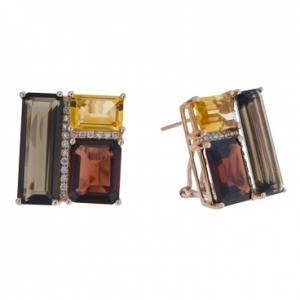 Золотые серьги c цитринами, бриллиантами, гранатами, силиконами и кварцем