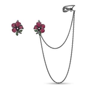 Золотые серьги Цветы c бриллиантами, рубинами и цаворитами
