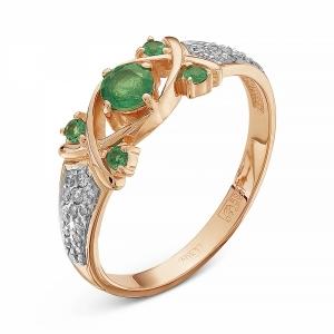 Золотое кольцо c агатом и изумрудом, бриллиантом