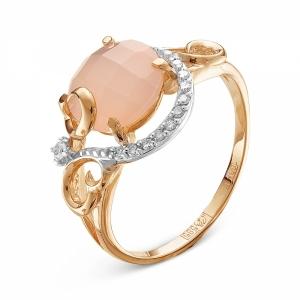 Золотое кольцо c агатом и бриллиантом