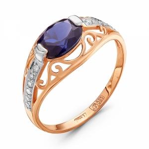 Золотое кольцо c сапфиром и бриллиантом
