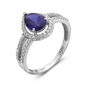 Женское кольцо из белого золота c сапфиром и бриллиантом