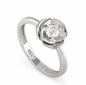 Женское кольцо Цветочный бутон из белого золота c бриллиантом
