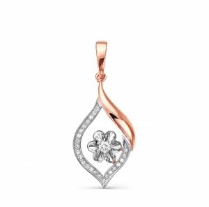 Золотая подвеска Цветок c бриллиантом