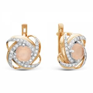 Золотые серьги c агатом и бриллиантом