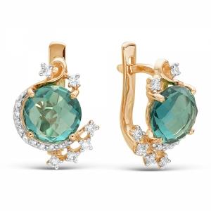 Золотые серьги c ситаллом и бриллиантом