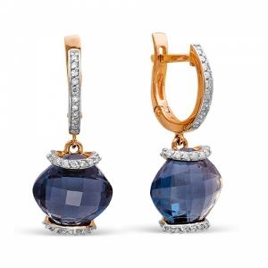 Золотые серьги c топазом и бриллиантом