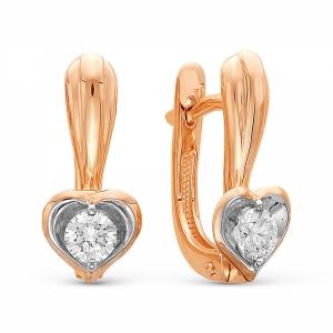 Золотые серьги Сердечки c бриллиантом