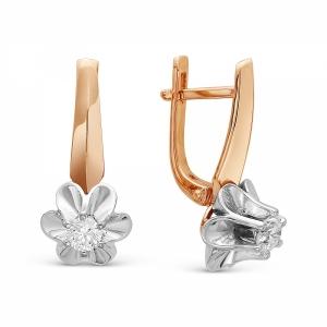 Золотые серьги Цветы c бриллиантом