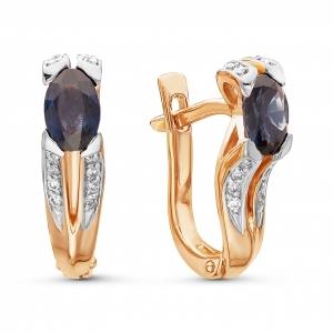 Золотые серьги c сапфиром и бриллиантом