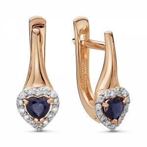 Золотые серьги Сердечки c сапфиром и бриллиантом
