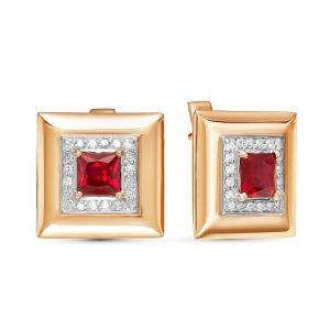 Золотые серьги c рубином и бриллиантом