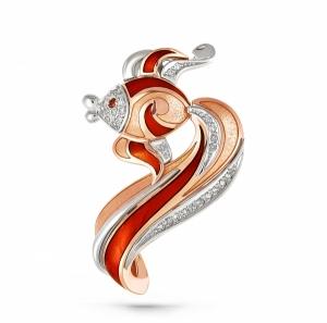 Золотая подвеска Рыбка c бриллиантом