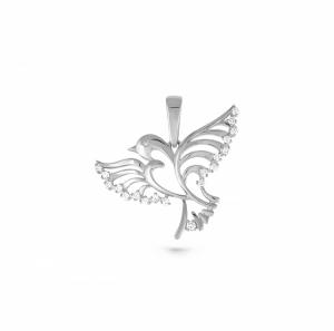 Подвеска Птица из белого золота c бриллиантом