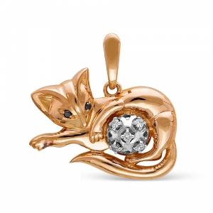 Золотая подвеска Котенок c бриллиантом