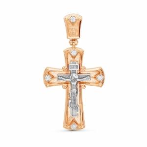 Мужской золотой крестик c бриллиантом