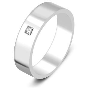 Обручальное кольцо из платины с бриллиантом