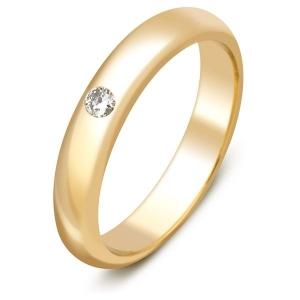 Обручальное кольцо из жёлтого золота с бриллиантом
