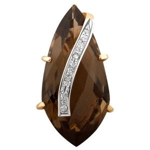 Подвеска-кулон из комбинированного золота с бриллиантами и раухтопазом