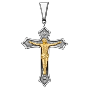 Кулон крест из золота с бриллиантами