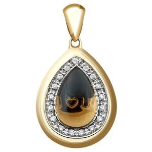 Подвеска-кулон из жёлтого золота с бриллиантами и дымчатым кварцем