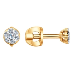 Серьги пусеты из жёлтого золота с бриллиантами